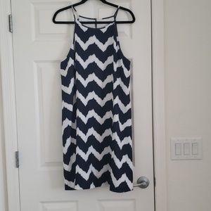 NY & Co Blue and White Zig Zag Halter Dress
